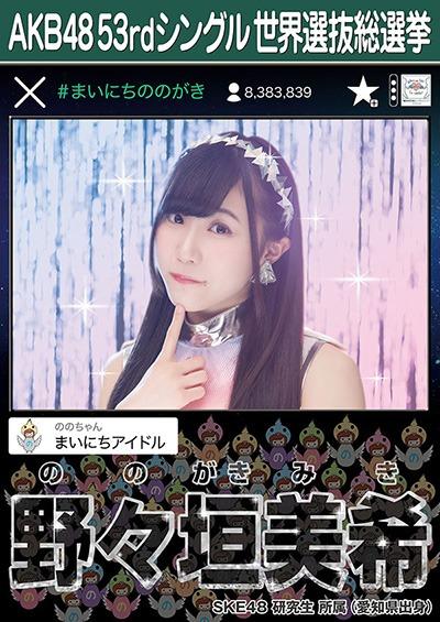野々垣美希 AKB48 53rdシングル 世界選抜総選挙ポスター